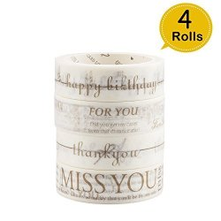 BiFun Arts Crafts Tapes 4 Rolls Golden Greentings Words Decorative Masking Tapes -- Thank You Miss You For You Happy Birthday Washi Maskingtape For Gift