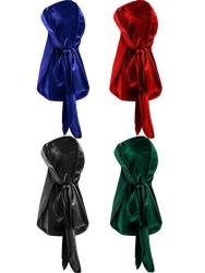 4 Pieces Men's Velvet Durag With Long Tail Soft Durag Headwraps For 360 Waves