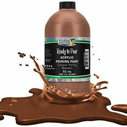 Pouring Masters Copper Penny Metallic Acrylic Ready To Pour Pouring Paint - Premium 32-OUNCE Pre-mixed Water-based - For Canvas Wood Paper Crafts Tile Rocks