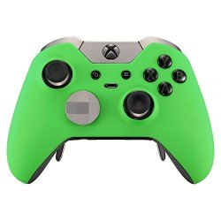 Extremerate Soft Touch Grip Green Front Housing Shell Faceplate For Xbox One Elite Controller With Thumbstick Accent Rings