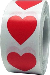 InStockLabels.com Red Heart Stickers Valentine's Day Crafting Scrapbooking 3 4 Inch 500 Adhesive Stickers
