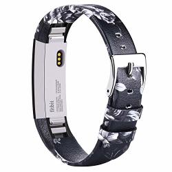 Ak Bands Compatible With Fitbit Alta Hr Bands Genuine Leather Adjustable Comfortable Wristbands For Fitbit Alta Hr fitbit Alta Floral Gray