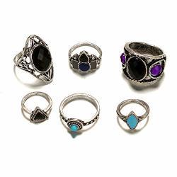 Haoricu Women Punk Silver Boho Stack Plain Knuckle Ring Jewelry Finger Tip Rings Set