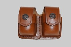 Double ALIS038 Speedloader Carrier case pouch For S&w 357 Magnum Genuine Leather Handmade