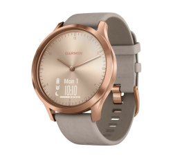 Garmin Vivomove Hr Premium in Rose Gold Stainless Steel Case with Gray Suede Band