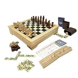 Deluxe 7 In 1 Board Game Set - Chess Set Checkers Backgammon Dominoes Playing Cards Poker Dices And Cribbage - By Kaile