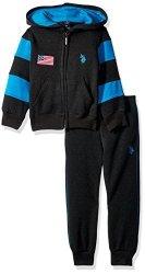 U.S. Polo Assn. . Toddler Boys' 2 Piece Jog Set Dark Heather Gray 3T