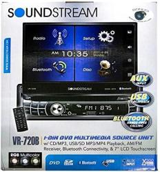"Soundstream VR-720B Multimedia Receiver single Din 7"" In-dash Flip Up DVD With Bluetooth"