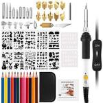 Upgraded Wood Burning Kit Adjustable Temperature Iron leather Pyrography Pen + Embossing carving soldering Tips +stencil + Stand