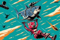 Fortnite - Laser Shark Poster