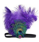 Aniwon Flapper Headband Feather Headband With Rhinestone Decoration
