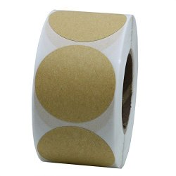 "Hybsk Tm 1.5"" Round Brown Kraft Paper Sticker Labels Packaging Seals Crafts Wedding Favor Tag Labels 500 Total Per Roll 1 Roll"