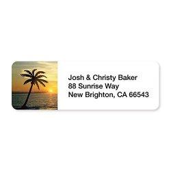 Artistic Labels Tropical Golden Sunset Set Of 215 Sheeted Address Labels