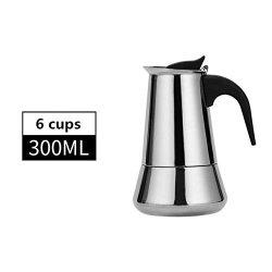 Xxdmz Stovetop Espresso Maker Moka Pot European Style Espresso Maker Moka Coffee Pot Stainless STEEL304 Latte Percolator With 12CUPS 600 Milliliter Cappuccino Cafe Pot Style 02 300ML