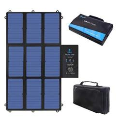 Bigblue 63W Foldable Solar Charger Portable Sunpower Solar Panel Dual 5V USB+19V Dc Output+ Usb-c Port For Laptop Power Station