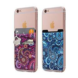 Cardly Two Stretchy Cell Phone Stick On Wallet Card Holder Phone Pocket For Iphone Android And All Smartphones. Paisley
