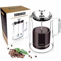 French Press Coffee Maker Double Wall Borosilicate Glass Vacuum Insulated 4 Level Filtration System 100% No Coffee Grounds Guarantee 34 Oz 1 Liter 8 Cups