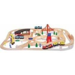 Melissa & Doug Classic Wooden Railway Set
