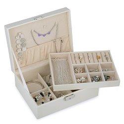 KENDAL 2 Trays White Leather Jewelry Box Case Storage Organizer With Lock LJT004WH