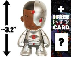 "Cyborg: 3.2"" Kidrobot X Dc Universe Mini-figure + 1 Free Official Dc Trading Card Bundle Very Rare"