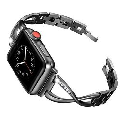 Secbolt For Apple Watch Band 42MM Women Stainless Steel Accessories Metal Replacement Wristband Sport Strap X-link For Apple Wat