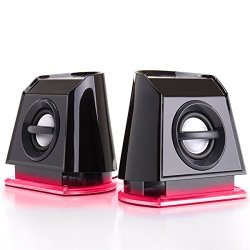 GOgroove 2MX Computer Gaming Speakers With Red LED Lights Passive Subwoofer And Volume Control - Great With PC Monitor 3.5MM USB