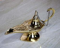 Esplanade - Alladin Lamp In Brass Alladin & Genie Lamp Novelty Item Classic Vintage Collectible Lamp - Home Office Table Decoration & Gift