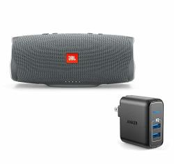 JBL Charge 4 Portable Waterproof Wireless Bluetooth Speaker Bundle With Anker 2-PORT Wall Charger - Gray