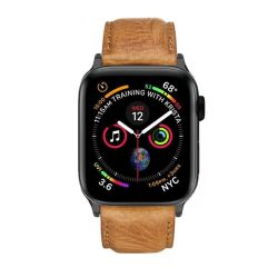 Colton James Leather Strap For Black space Grey 44MM Apple Watch - Tan