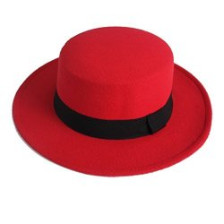 NE Norboe Women's Brim Fedora Wool Flat Top Hat Church Derby Bowknot Cap Red