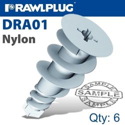 Rawlplug Nyl Self Drill Drywall Fixing X6-BAG Raw R-S1-DRA01-6