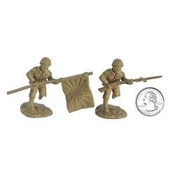 Japanese Wwii Infantry Plastic Army Men: 16 Piece Set Of 54MM Figures - 1:32 Scale