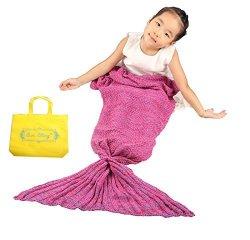 Sun Cling Crochet Mermaid Tail Blanket With Sleeping Bags 56X28 - Rose