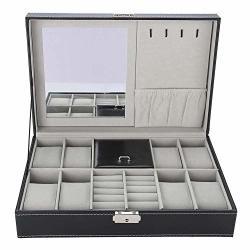 Greensen Pu Leather Watch Storage Case 8 Slots Jewelry Display Box Holder Organizer With Mirror