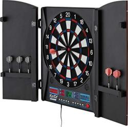 Fat Cat Electronx Electronic Dartboard Built In Cabinet Solo Play With Cyber Player Dual Screen Scoreboard Display Extended Catc