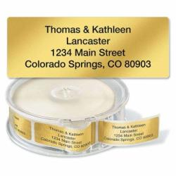 """Gold Foil Standard Rolled Return Address Labels - Set Of 500 2 1 2"""" X 3 4"""" Rolled Labels With Clear Acrylic Dispenser"""