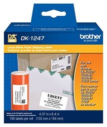 Brother Genuine DK-1247 Die-cut Large Shipping White Paper Labels For Ql Label Printers - 180 Labels Per Roll 4.07 X 6.4 103MM X 164 Mm