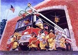 USA Fireman Series Daffy Duck Bugs Bunny And Crew In Where One Goes We All Go Warner Bros. Artwork. Ltd. Run MINI Print Custom Matted