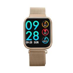 P80 1.3 Inch Ips Color Screen Smartwatch IP68 Waterproof Metal Watchband Support Call Reminder heart Rate Monitoring blood Pressure Monitoring sleep Monitoring sedentary Reminder Gold