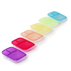KitchenFX Set Of 6 Plastic Meal Prep Containers With 3 Compartments
