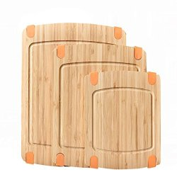 WELLAND 3-PIECE Bamboo Cutting Board Set: Wooden Butcher Block Boards With Juice Groove And Non-slip Edged Rubbler Bar Board