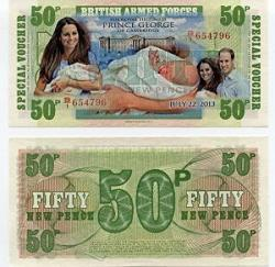"""USA Royal Baby Prince George Of Cambridge"""" British Armed Forces 50 New Pence 6TH Series Banknote"""