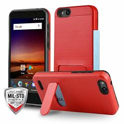 Phone Case For Zte Zfive G LTE Z557BL Zte Zfive C LTE Z558VL Vault Series Red Shockproof Card Holder Cover With Kickstand Tracfone Simple