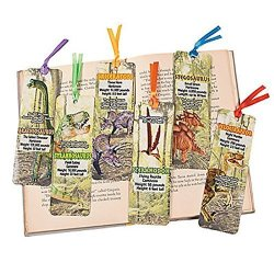 "48 Dinosaur Bookmarks 2"" X 6"" Laminated Cardstock With Satin Ribbon New"
