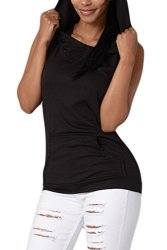 Women Vemubapis Casual Sleeveless Hoodie Backless Sports Tee Running Vest With Pockets Black L