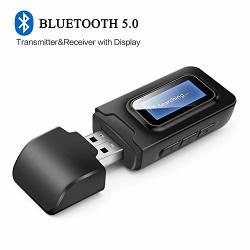 USB Bluetooth 5.0 Audio Transmitter Receiver With Lcd Display Goojodoq 3 In 1 Portable Visualization Bluetooth Adapter 3.5MM Wir