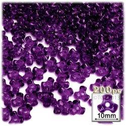 The Crafts Outlet 1000-PIECE Plastic Transparent Tri Beads 10MM Dark Purple