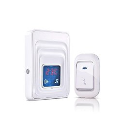 Mutang Wireless Doorbell Waterproof Door Chime Kit With Thermometer Plug-in Receivers 4 Volume Levels Color : A