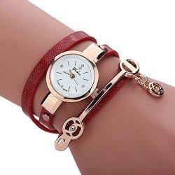 Axchongery Women's Watch Elegant Wrap Around Strap Bracelet Quartz Dial Metal Wristwatch With Pendant Red