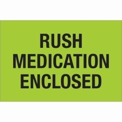 "Tape Logic DL1336 Labels ""rush - Medication Enclosed"" Green black 500 Per Roll"